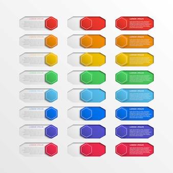 Ensemble de boutons hexagonaux d'interface de commutateur multicolore avec des zones de texte. infographie