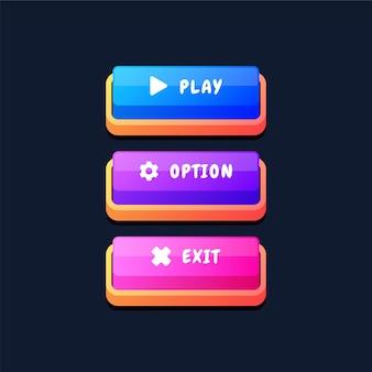Ensemble de boutons d'interface utilisateur de jeu