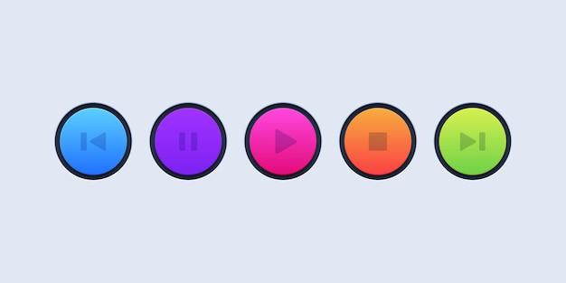 Ensemble de boutons de lecteur multimédia