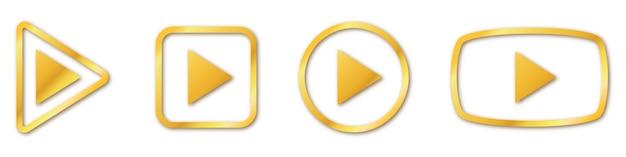 Ensemble de boutons de lecture en or. jouez isolé. symbole de jeu d'or