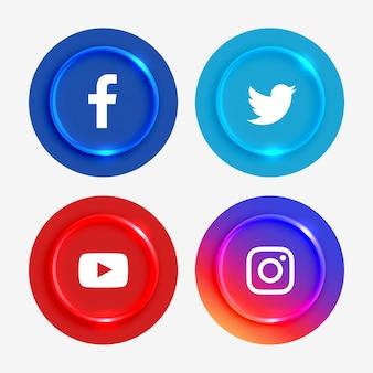 Ensemble de boutons de logos de médias sociaux populaires