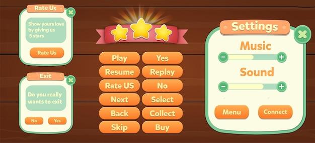 Ensemble de boutons de menu de ressources de jeu écrans contextuels d'écran de fond et boutons de paramètres
