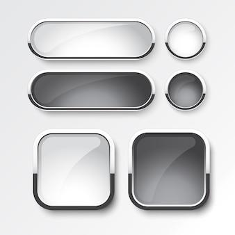 Ensemble de boutons noir et blanc le design du moderne sur fond blanc