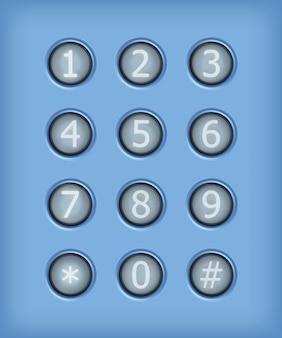 Ensemble de boutons avec numéro. éléments de conception de vecteur