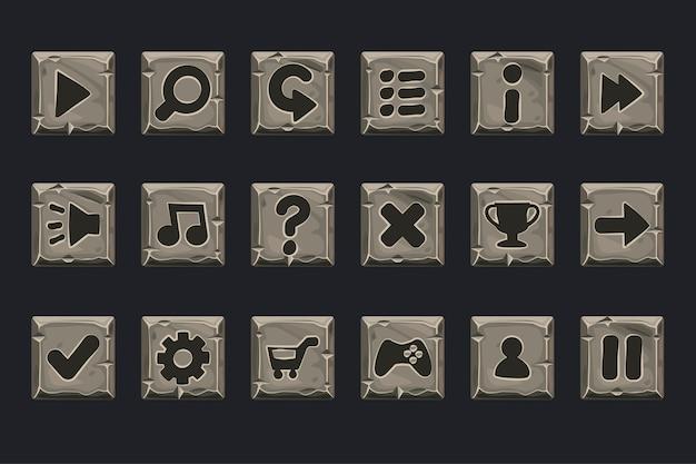 Ensemble de boutons en pierre grise pour le web ou le jeu. icônes sur un calque séparé