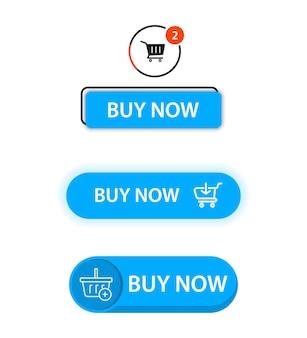 Ensemble de boutons plats à la mode modernes de vecteur. ajouter au chariot. bouton acheter maintenant pour un site. interface utilisateur moderne achetez maintenant pour la boutique en ligne, éléments d'interface de commerce électronique. panier