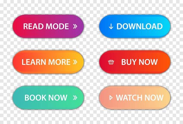 Ensemble de boutons plats à la mode modernes de vecteur. appel aux boutons d'action ; en savoir plus, en savoir plus, acheter maintenant, télécharger, regarder maintenant, réserver un ensemble de boutons plus coloré. différentes couleurs de dégradé et icônes avec des ombres.