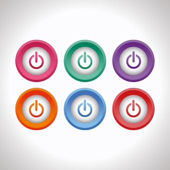 Ensemble de boutons poussoirs d'alimentation 3d