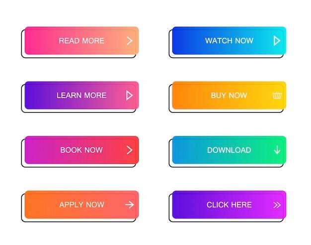 Ensemble de boutons de style matériel moderne pour site web, application mobile et infographie. différentes couleurs dégradées. style plat moderne