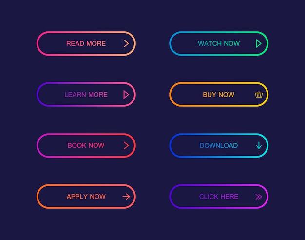 Ensemble de boutons de style matériel moderne pour site web, application mobile et infographie. différentes couleurs dégradées.