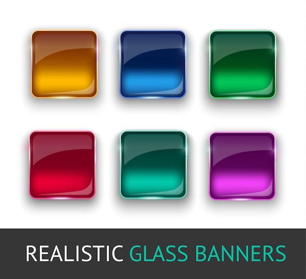 Ensemble de boutons en verre coloré pour interface web.