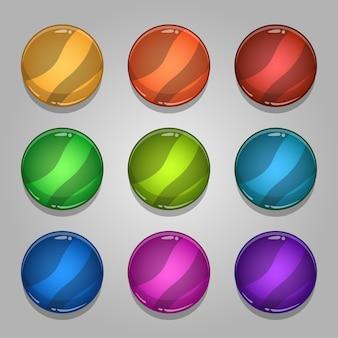 Ensemble de boutons vierges cercle coloré