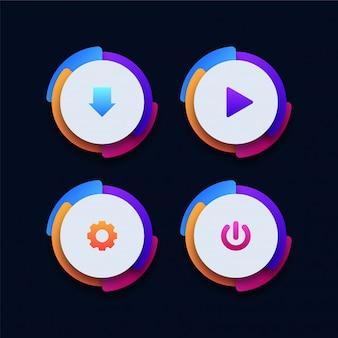 Ensemble de boutons web 3d colorés