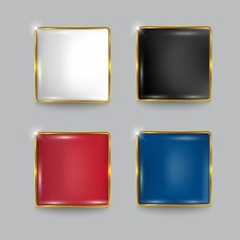 Ensemble de boutons web carré brillant doré