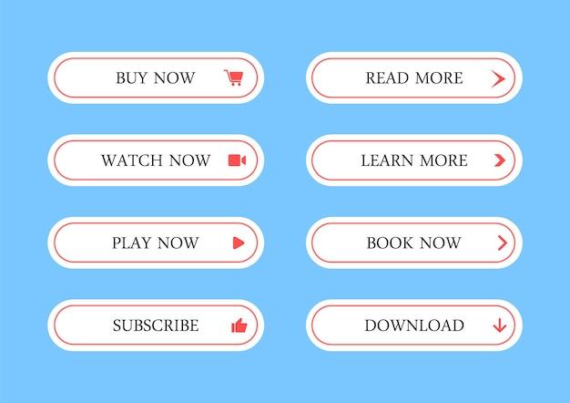 Ensemble de boutons web, icônes web modernes -