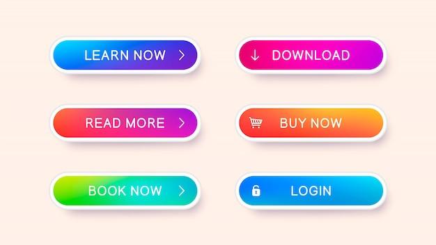 Ensemble de boutons web modernes abstraits. modèle prêt de boutons vectoriels