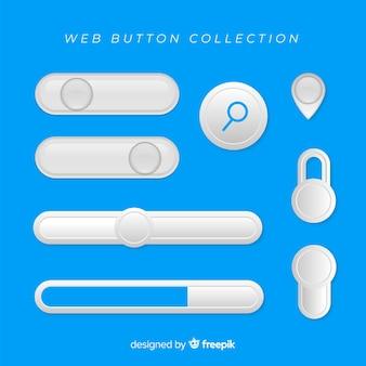 Ensemble de boutons web plat