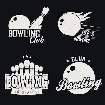 Ensemble de bowling monochrome sur le thème