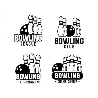 Ensemble de bowling de tournoi de championnat de logos