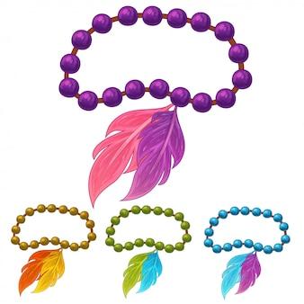 Ensemble de bracelets en plumes sur blanc