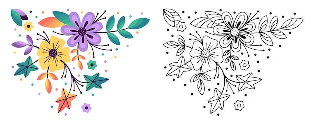 Ensemble de branche florale. fleur de style blanc coloré et noir.