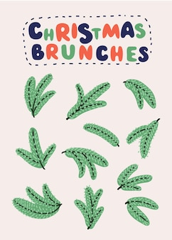 Ensemble de branches de sapin. arbre de noël, pin, conifère. illustrations vectorielles détaillées réalistes. symbole de noël et nouvel an isolé sur fond blanc pour votre conception. eps10