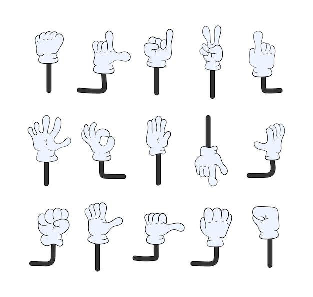 Ensemble de bras de dessin animé isolé sur fond blanc. collection de jambes et de mains de dessin animé. pieds et main de gant ou pied en baskets qui donnent des coups de pied, marchent et courent.