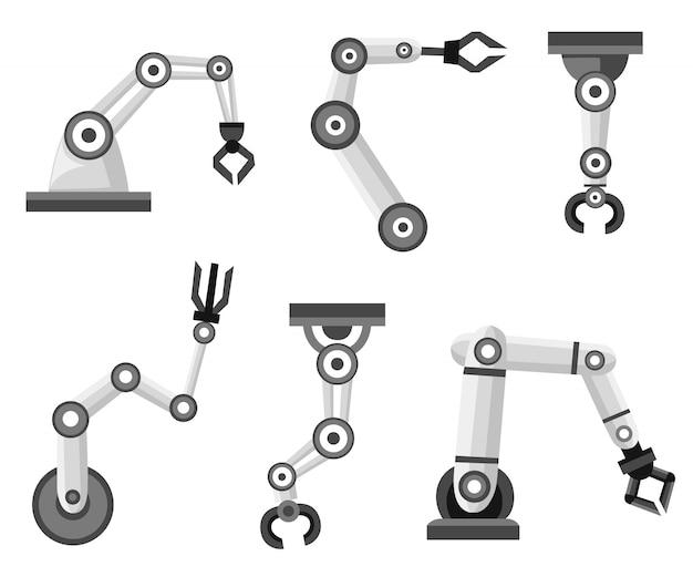 Ensemble de bras robotiques. fabrication de bras robotisés. icône de style. illustration sur fond blanc