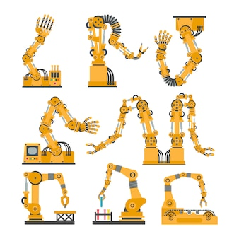Ensemble de bras robotiques, mains. jeu d'icônes robot vectoriel.