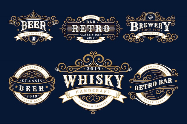 Ensemble de brasserie de badges vintage, boutique de brasserie et emblèmes