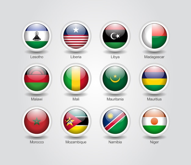 Ensemble brillant d'icônes 3d pour les drapeaux des pays africains