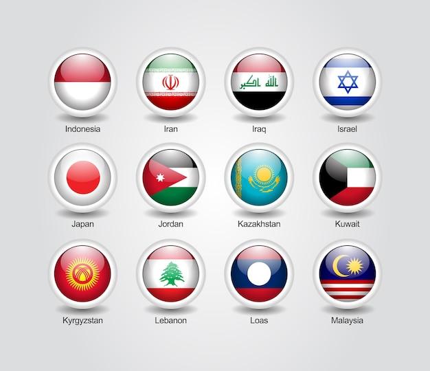 Ensemble brillant d'icônes 3d pour les drapeaux des pays asiatiques