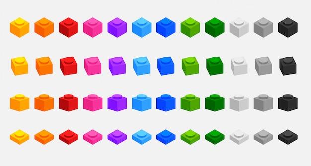 Ensemble de briques de blocs de construction 3d dans de nombreuses couleurs