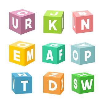 Ensemble de briques de jouets colorés avec des lettres,