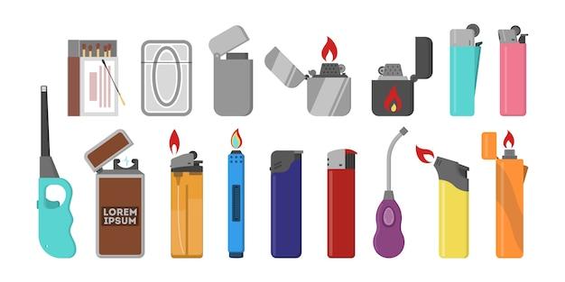 Ensemble briquet en plastique. flamme de gaz. accessoire pour fumer.