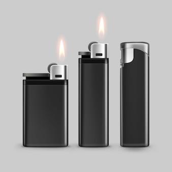 Ensemble de briquets en métal en plastique noir blanc avec flamme close up isolé sur blanc