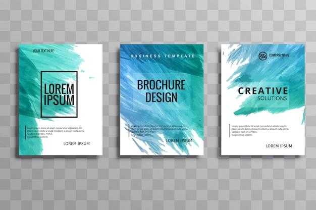 Ensemble de brochure abstraite aquarelle coloré buisness