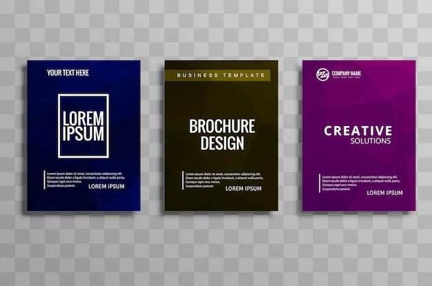 Ensemble de brochure d'affaires polygone coloré abstrait
