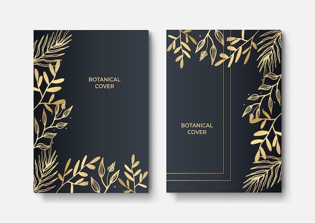 Ensemble de brochure élégante, carte, couverture. texture de marbre noir et doré. fond d'or vintage. cadre géométrique. feuilles exotiques de palmier. art botanique