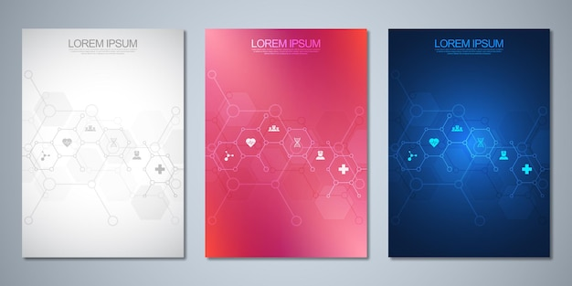 Ensemble de brochure de modèle ou livre de couverture