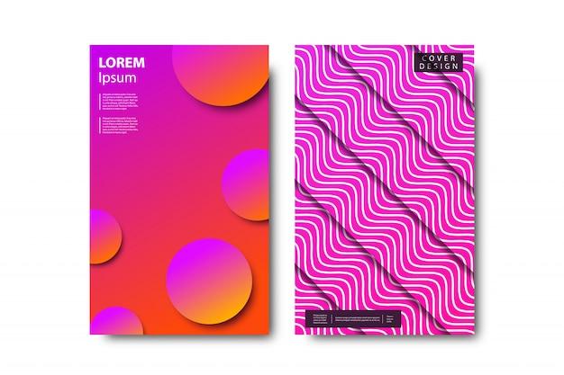 Ensemble de brochure réaliste avec des formes minimalistes abstraites en zigzag pour la décoration et la couverture sur fond blanc.