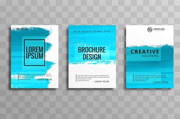Ensemble de brochure style aquarelle abstraite en bleu