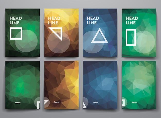 Ensemble de brochures abstraites dans un style poligonal