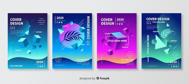 Ensemble de brochures de formes polygonales flottantes