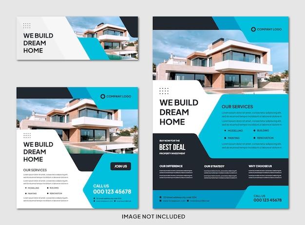 Ensemble de brochures immobilières modernes modifiables et modèle de publication instagram