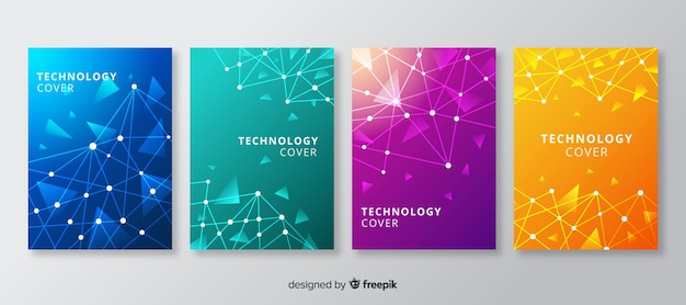 Ensemble de brochures de style technologique