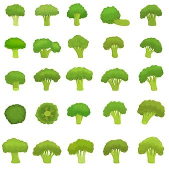 Ensemble de brocoli. ensemble de dessin animé de brocoli
