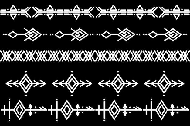 Ensemble de brosses à motifs vectoriels. motif ethnique. créer des bordures, des cadres, des séparateurs. éléments de conception de modèle dessinés à la main. illustration vectorielle.
