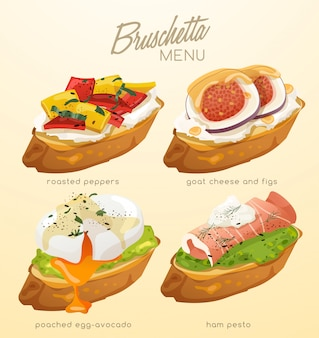 Ensemble de bruschetta. délicieux apéritif italien