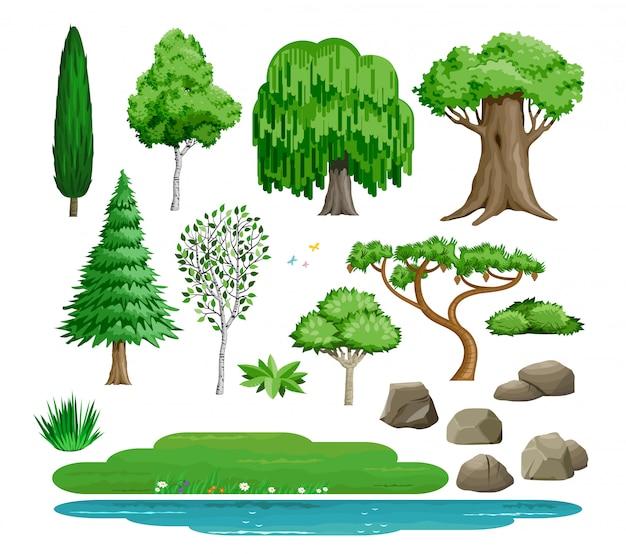 Ensemble de buissons d'arbres de vecteur et de pierres